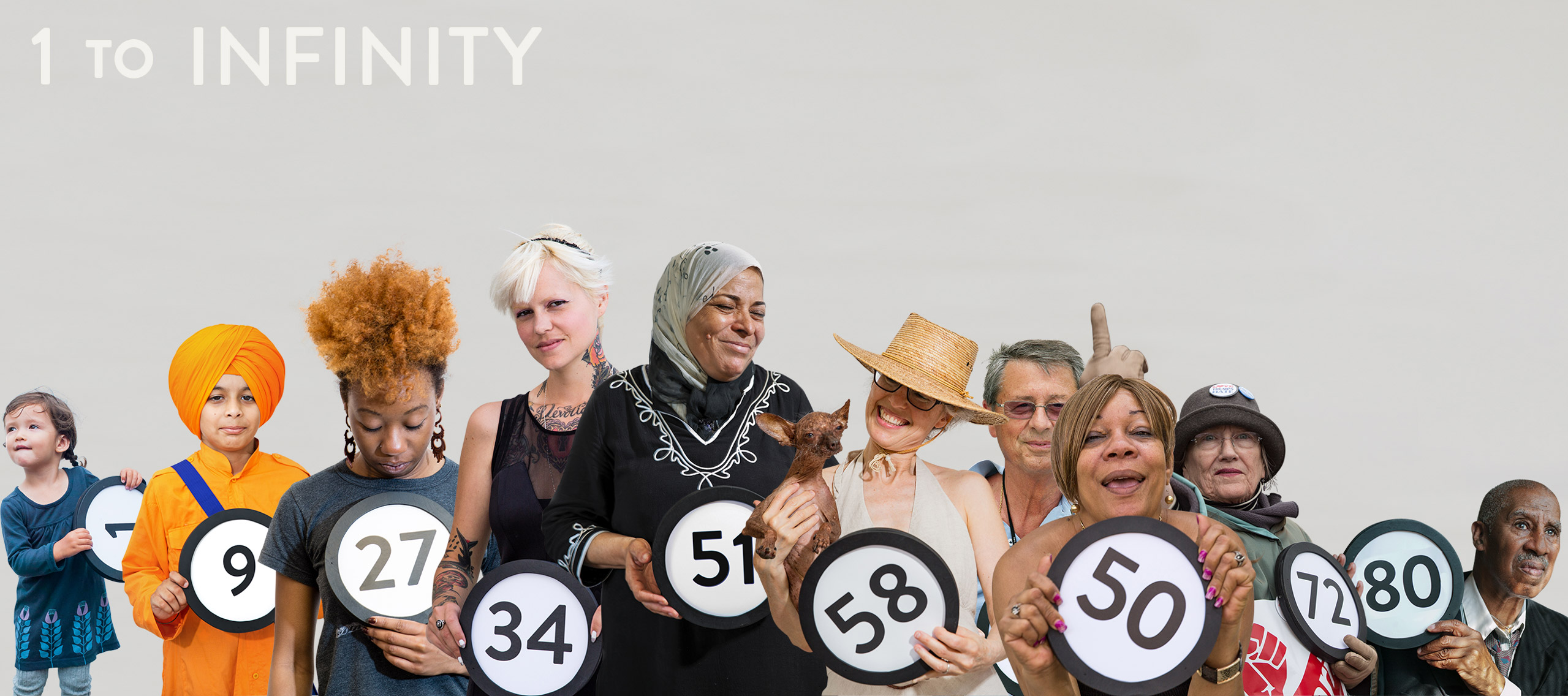 10 people whose ages span from 2 to 80 years old stanidng together with tokems in their hands that have their age on them. 1 to Infinity title in black bold letters across the top. In the upper right corner is a black push button.